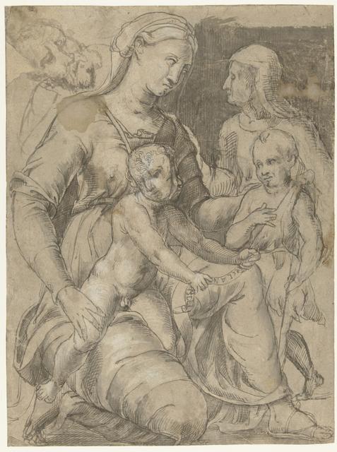 Heilige familie met Johannes de Doper en Elizabeth
