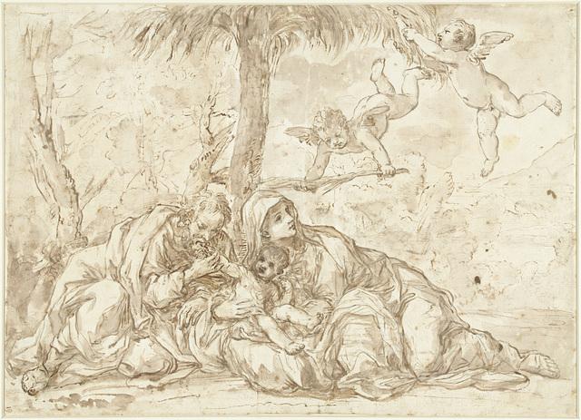 Heilige Familie rustend onder een palmboom
