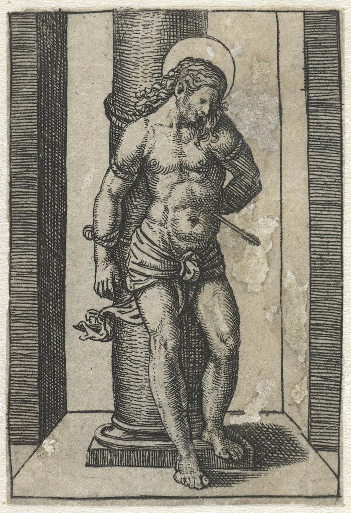 Heilige Sebastiaan vastgebonden aan zuil met pijl in lichaam