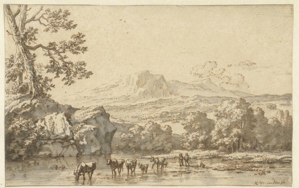 Herders met vee bij een rivier