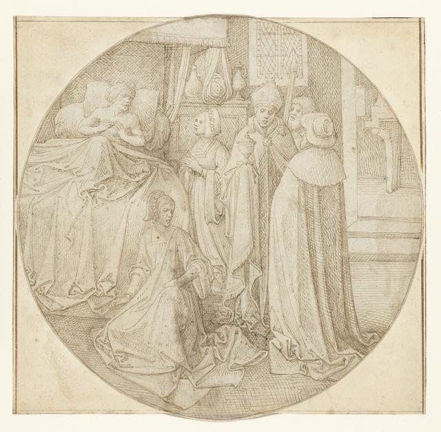 Herkinbald ligt in bed en ontvangt de bisschop