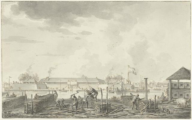 Het kasteel te Batavia, gezien vanaf de Houtkrap