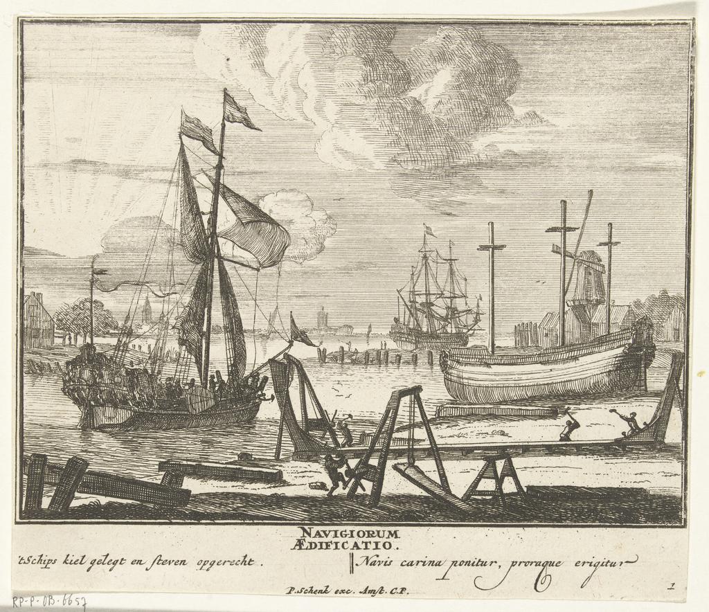Het leggen van de kiel en het oprechten van het steven, plaat nr. 1, ca. 1700