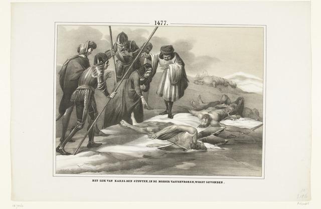 Het lijk van Karel de Stoute gevonden vastgevroren in het de modder, 1477