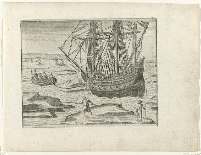 Het schip dreigt bij Oranje-eiland in het ijs vast te raken, 1596