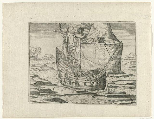Het schip raakt vast in het ijs, 1596