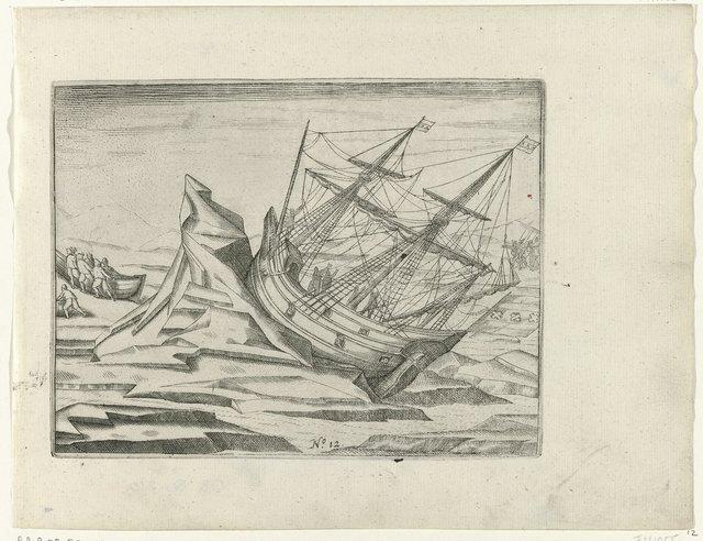 Het schip vastgelopen in het ijs, 1596
