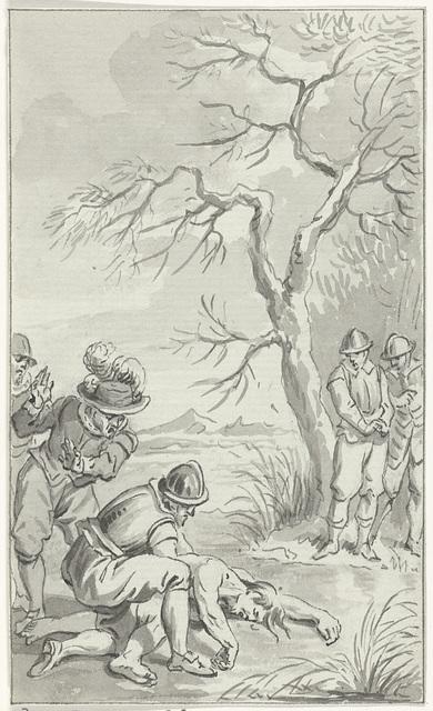 Het vinden van het lijk van Karel de Stoute in een moeras, vastgevroren aan het ijs, 5 januari 1477
