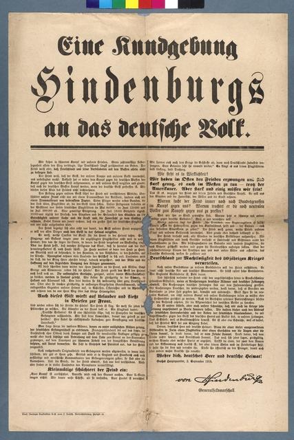 Hindenburg an das deutsche Volk - Propagandaplakat - Berlin