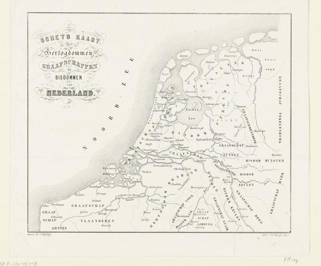 Historische kaart van de hertogdommen, graafschappen en bisdommen van Nederland