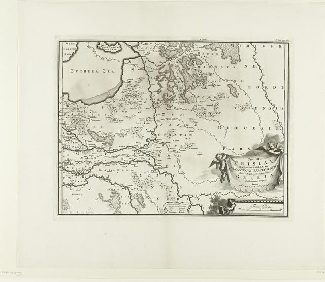 Historische kaart van Nederland met de gebieden van de Bataven en Friezen