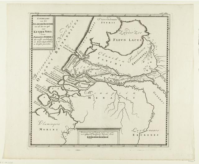 Historische kaart van Nederland ten tijde van keizer Nero