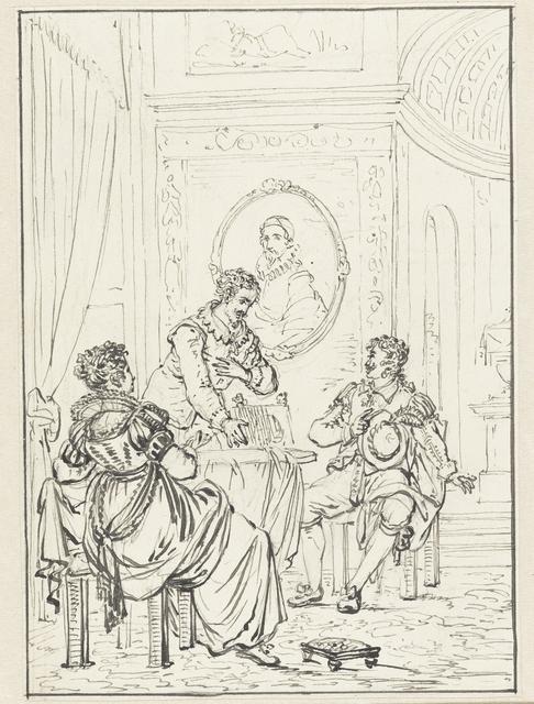 Historische scène met interieur met drie personen