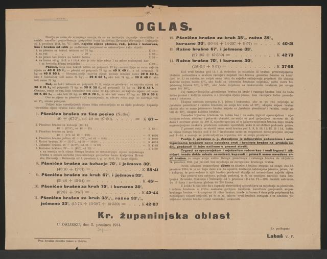 Höchstpreise Getreide und Mehl - Bekanntmachung - Osijek - In kroatischer Sprache