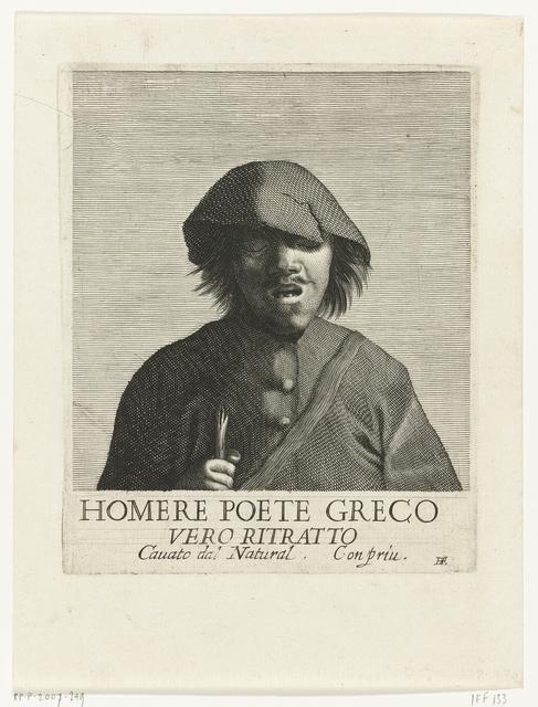 Homere Poete Greco Vero Ritratto Cavato dal Natural