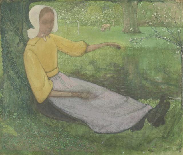 Huizer vrouw zittend onder een boom
