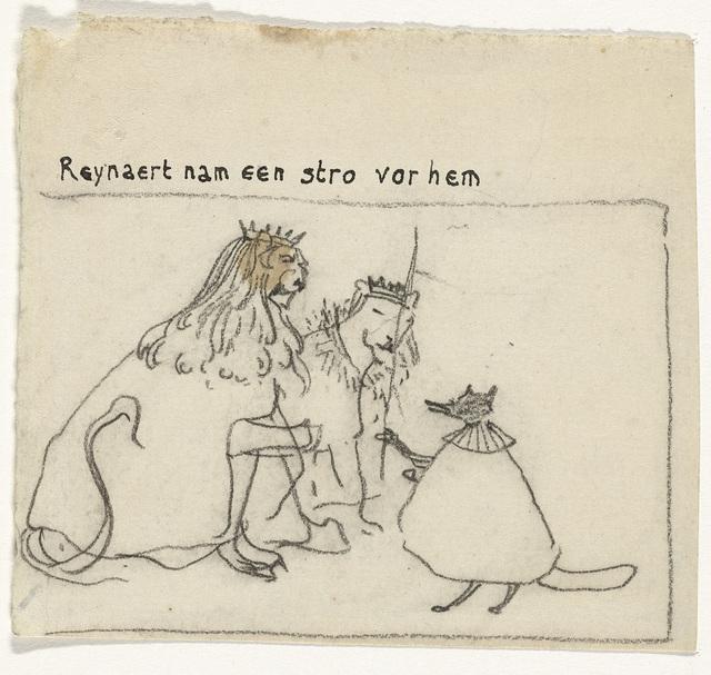 Illustratie voor Vanden Vos Reinaerde: Reynaert nam een stro vor hem
