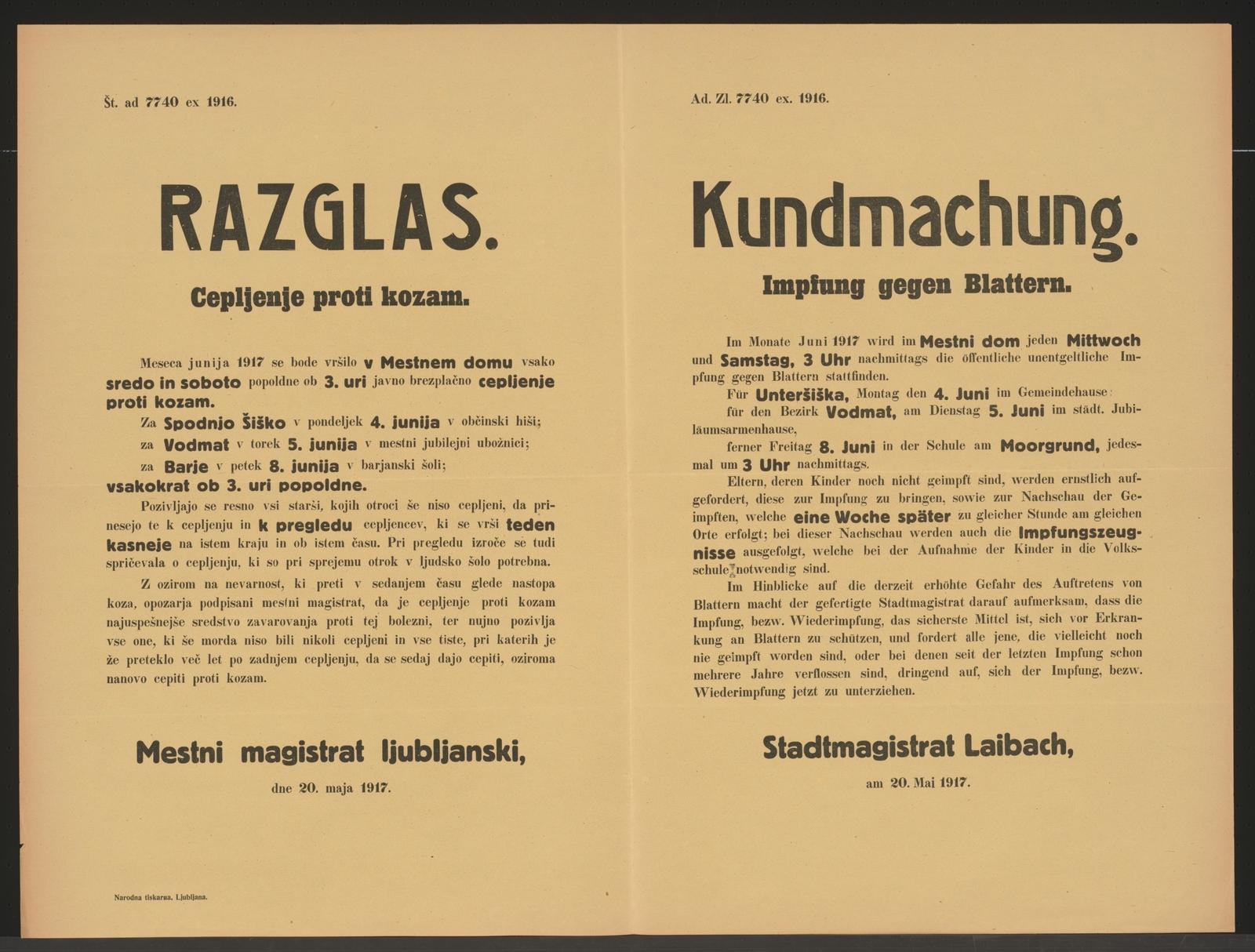 Impfung Gegen Blattern Kundmachung Laibach Mehrsprachiges