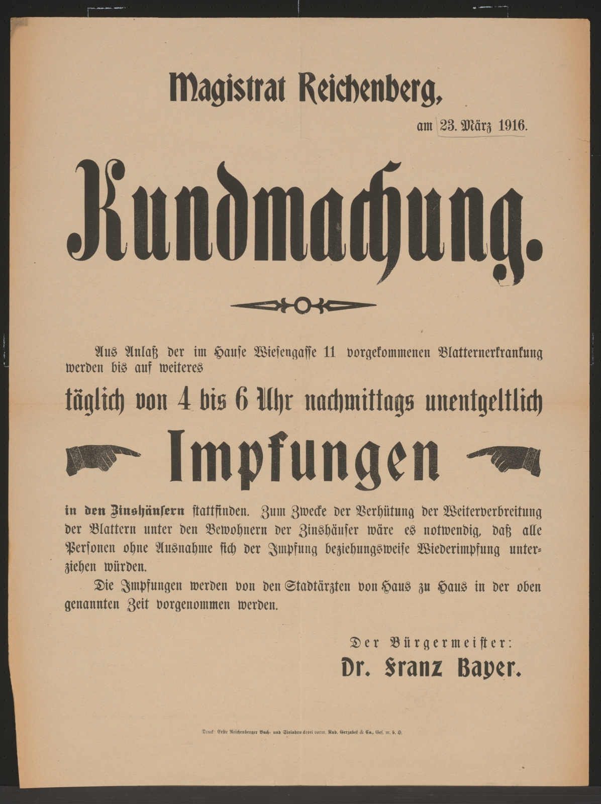 Impfung Gegen Blattern Kundmachung Reichenberg Picryl