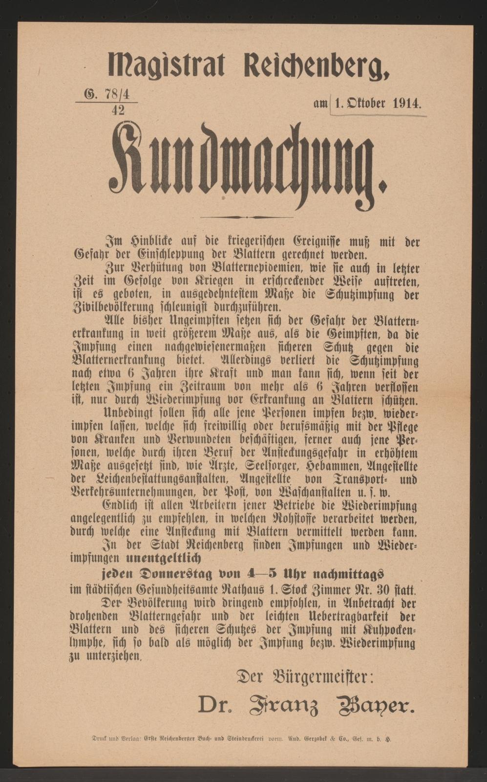 Impfungen Gegen Blattern Kundmachung Reichenberg Picryl