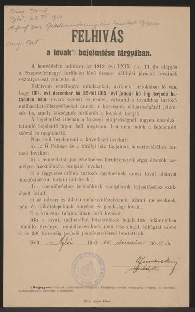 In Sachen Pferdeklassifikation - Aufruf - Zipser Neudorf - In ungarischer Sprache