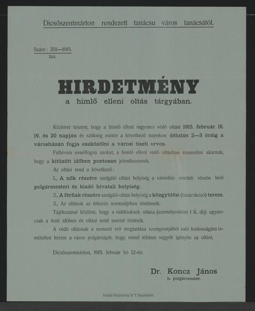 In Sachen Pockenimpfung - Kundmachung - Dicsöszentmárton - In ungarischer Sprache