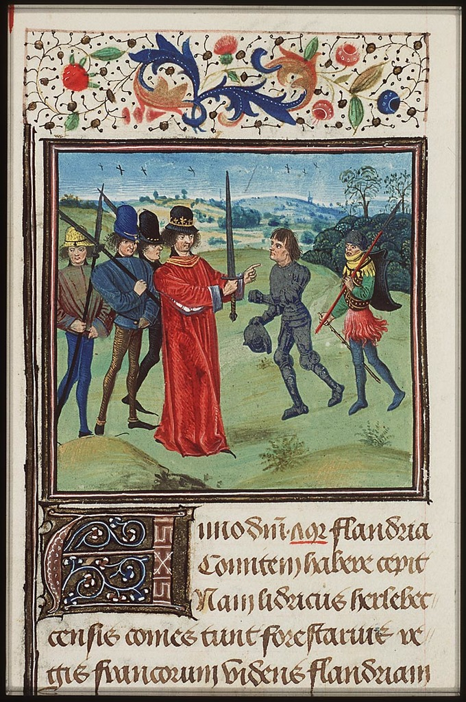 Institution of Baldwin I 'Bras de Fer', the first count of Flanders by Charles the Bald, the Frankish king