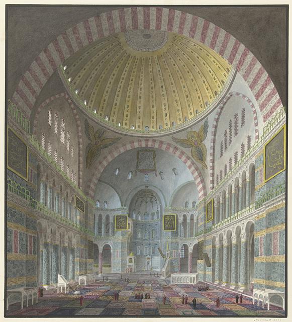 Interieur van de Aya Sophia met geknielde en wandelende Turken