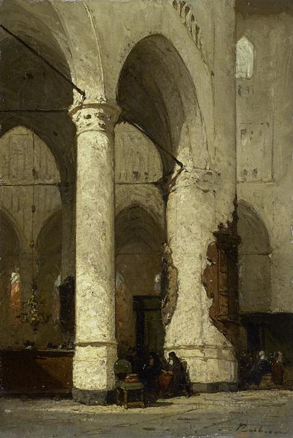 Interieur van de Hooglandsche Kerk te Leiden