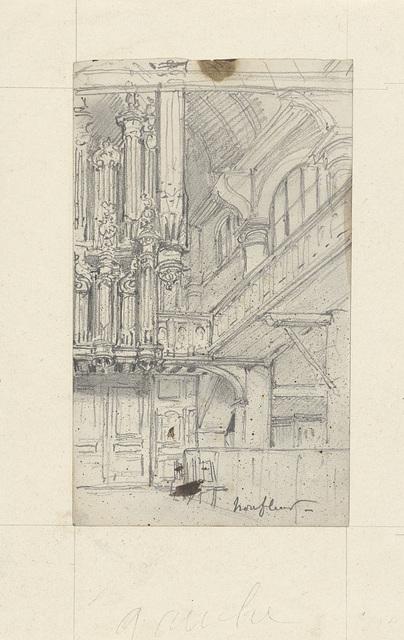 Interieur van de houten kerk van Honfleur, gezien naar het orgel