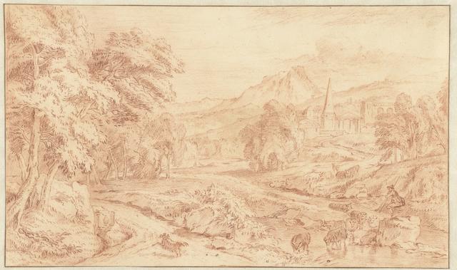 Italiaans landschap met ruïnes en een schaapherder