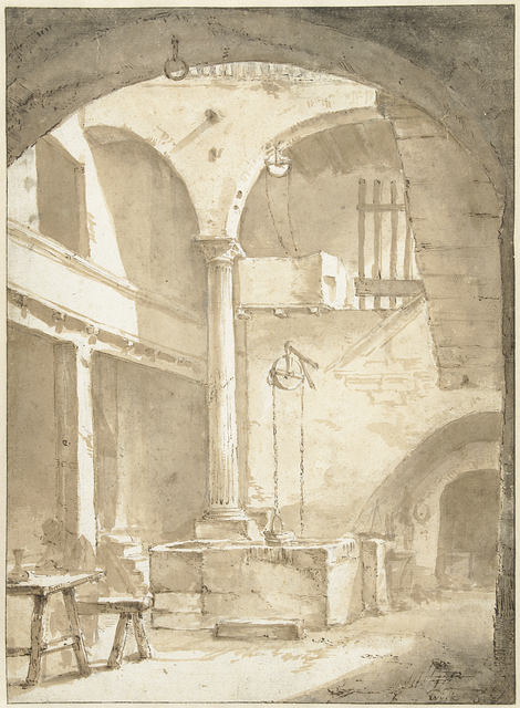 Italiaanse binnenplaats met een waterput