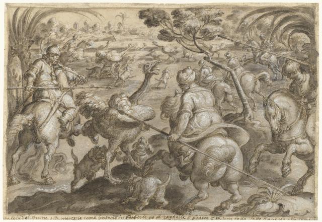 Jacht op struisvogels in Barbarijë
