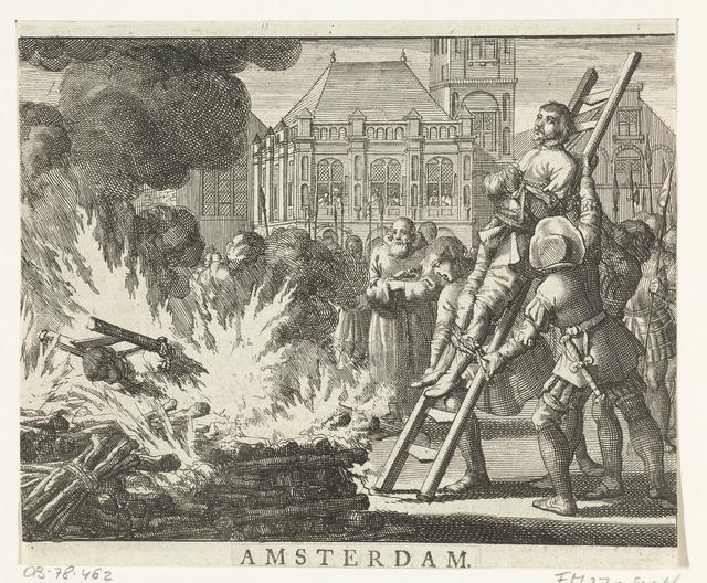 Jacob de Geldersman en Dirk Pietersz. Smuel op de Dam op de brandstapel, 1546