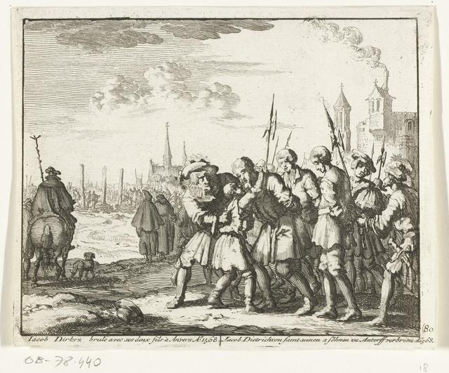 Jacob Dirksz. met zijn beide zonen te Antwerpen naar de brandstapel gevoerd, 1568