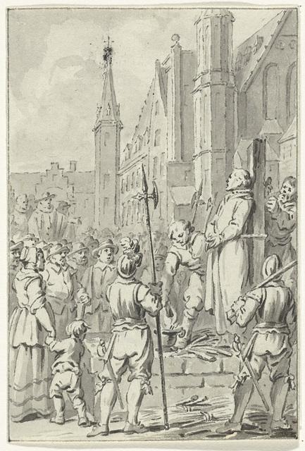 Jan de Bakker, priester te Woerden, op het Binnenhof te Den Haag wegens ketterij gewurgd en verbrand, 1525