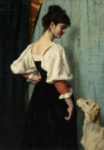 Jonge Italiaanse vrouw met de hond Puck