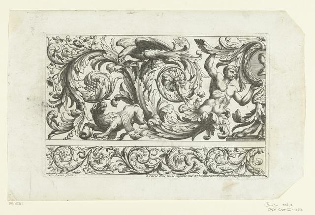 Jongeman, adelaar en leeuw tussen bladranken