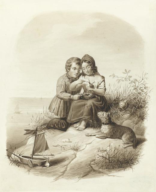 Jongen en een meisje met een hond voeren een vogeltje