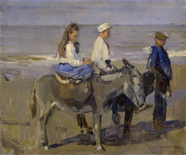 Jongen en meisje op ezeltjes