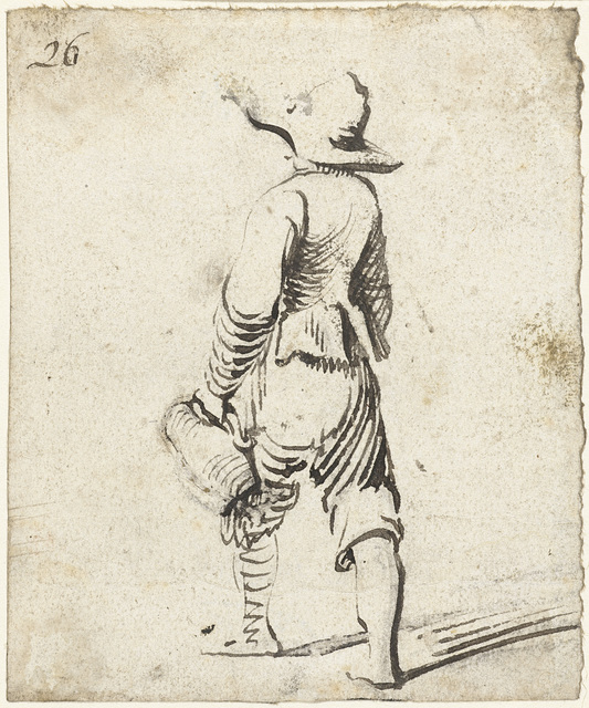 Jongen met flaphoed en een kan, van achteren