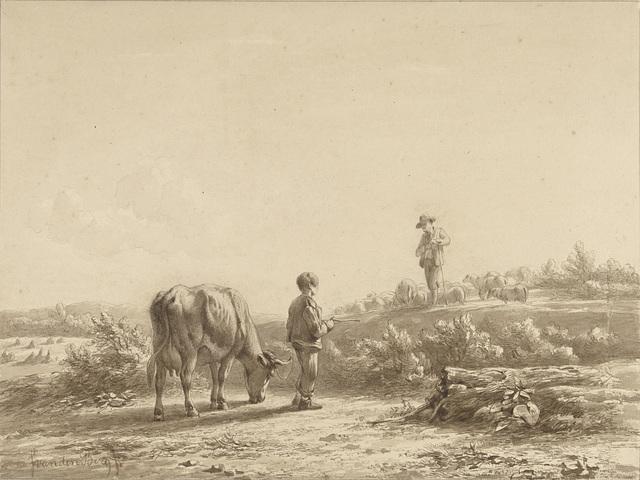 Jongen met koe en schaapherder