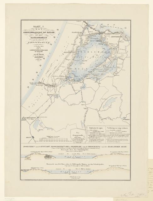 Kaart I. Het Hoogheemraadschap van Rijnland en het Haarlemmermeer met de werken tot Droogmaking (1 October 1843.)