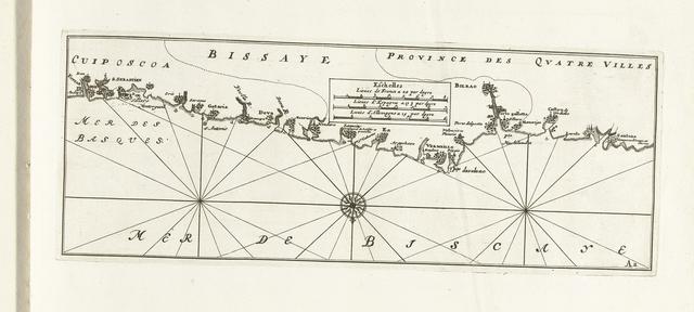 Kaart van de Spaanse noordkust tussen Bilbao en San Sebastián, ca. 1702