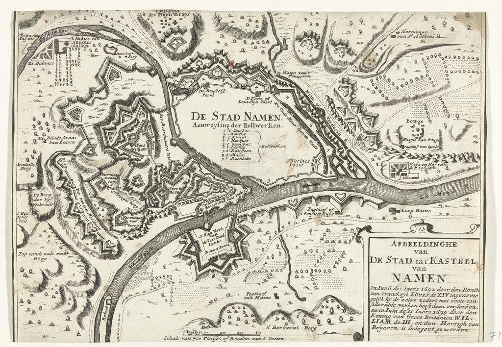 Kaart van de stad Namen met kasteel, belegerd door het Franse leger in 1692 en heroverd door de geallieerden in 1695