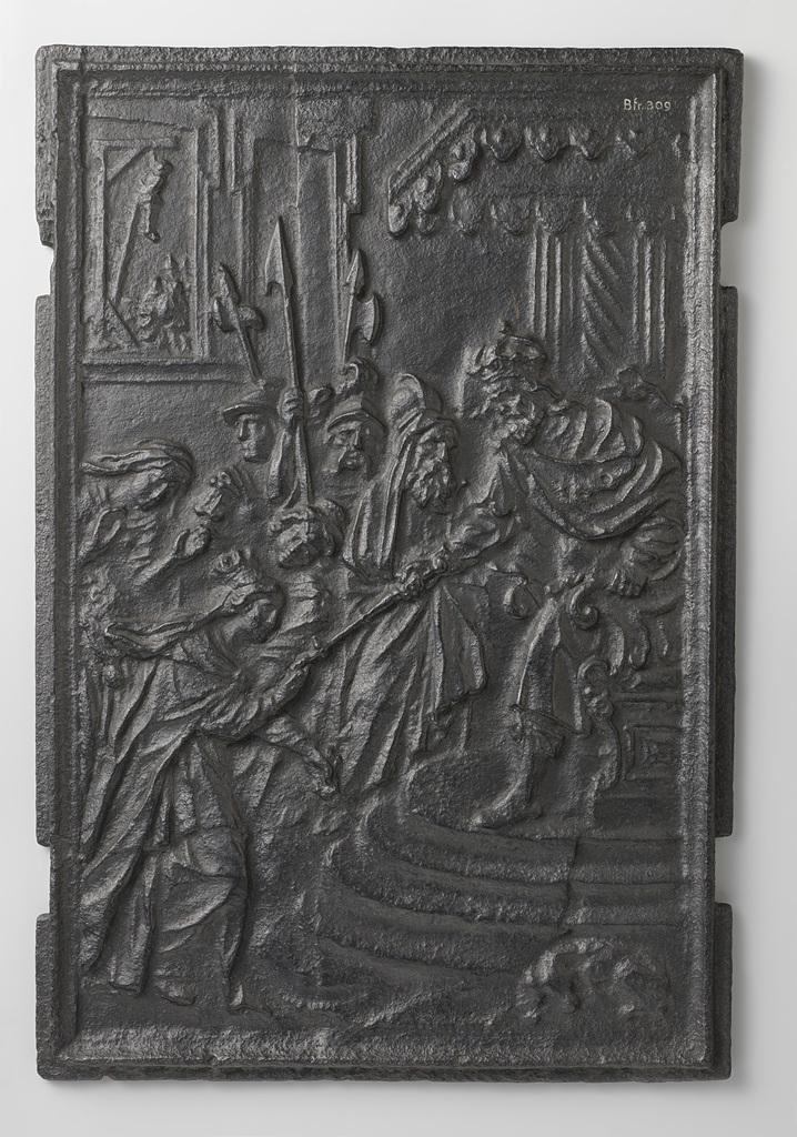 Kachelplaat met voorstelling van Esther en Mordechai