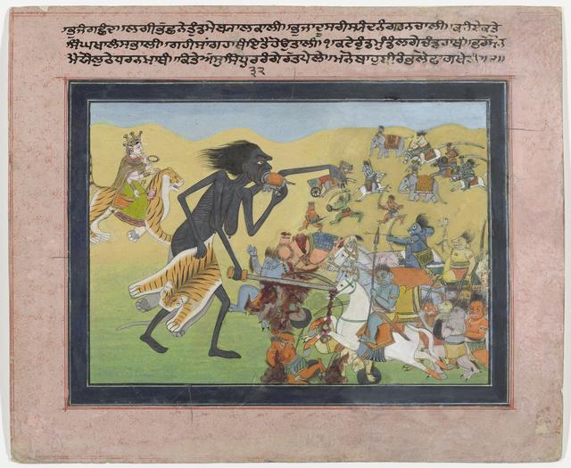 Kali strijdt tegen de demonen Chanda en Munda