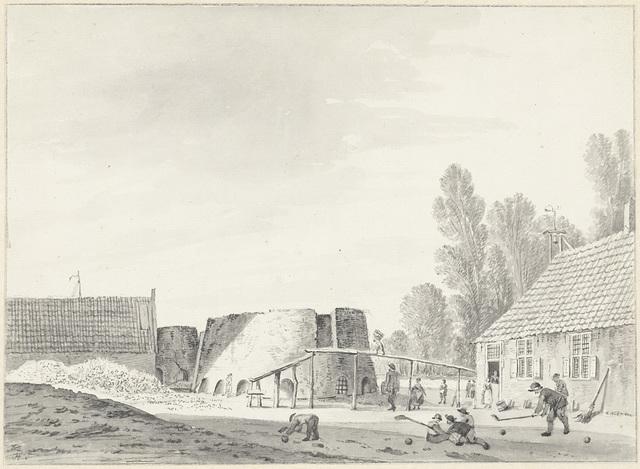 Kalkovens bij Hillegom met op de voorgrond kolfspelers