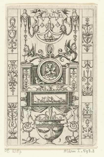 Kandelaber, geflankeerd door zes kleine vlakdecoraties met grotesken