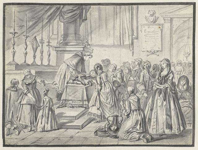 Kerkelijke scène met kruisverering op Goede Vrijdag